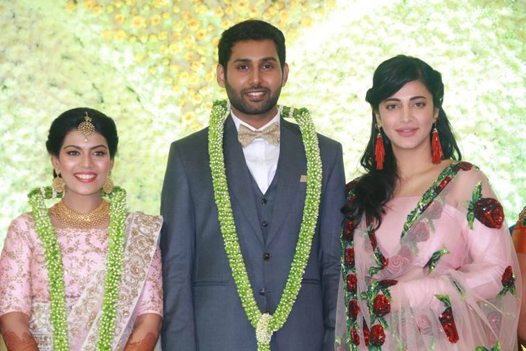 shruti haasan at Aadhav Kannadasan Vinodhnie Suresh wedding functions