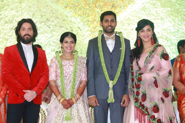 shruti haasan, boyfriend Michael Corsale at Aadhav Kannadasan Vinodhnie Suresh wedding functions