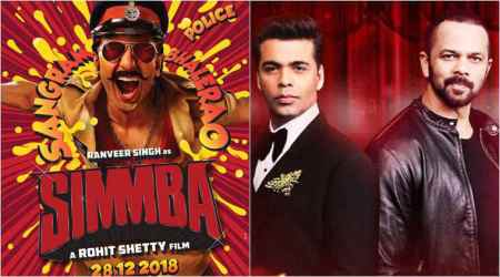 Simmba poster: Ranveer Singh, Karan Johar and Rohit Shetty collaborate for a hardcore actioner