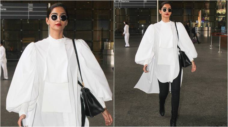 Sonam Kapoor steps into the airport like a diva in this monochrome outfit.