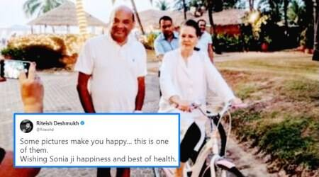 Sonia Gandhi vacationing in Goa; Riteish Deshmukh shares 'happy' picture of her riding a cycle