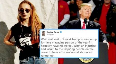 GOT star Sophie Turner denounces Time magazine's choice of Donald Trump as runner-up, Twitterati point out even Hitler was named