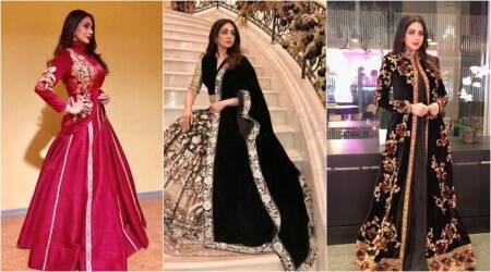 Sridevi has a royal Russian affair in Manish Malhotra and Rohit Baloutfits
