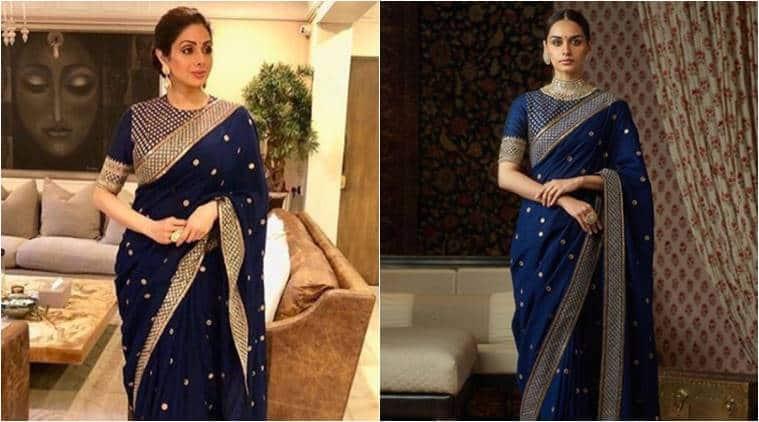 Sridevi wears a royal blue Sabyasachi sari modeled by Manushi Chhillar.