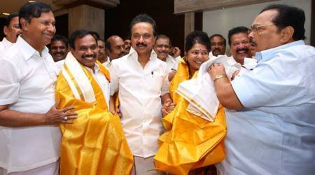 Acquitted in 2G case, A Raja and Kanimozhi welcomed by M K Stalin in Chennai