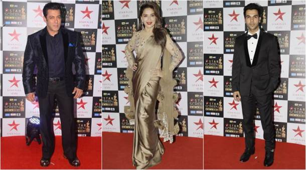 madhuri dixit, rajkummar rao, salman khan at star screen awards