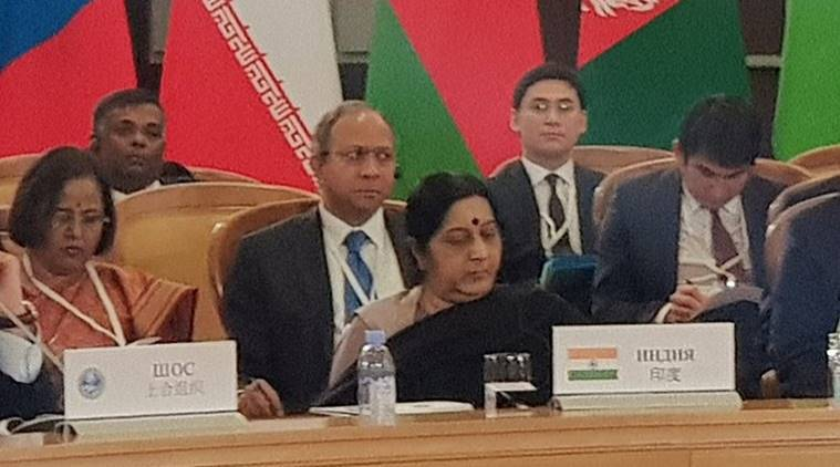 Sushma Swaraj  is attending the summit of Shanghai Cooperation Organisation