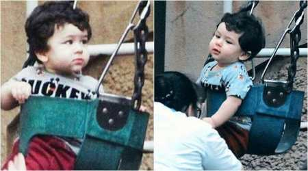 Taimur Ali Khan gets playful as he enjoys a swing at a park, see photos