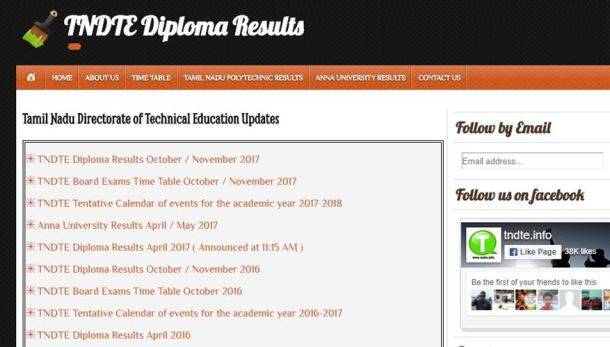 tndte, tndte diploma results, intradote.tn.nic.in, tndte.info