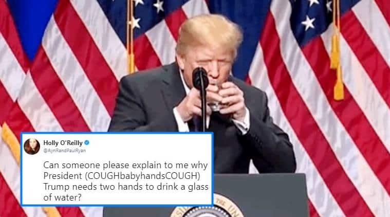 Donald Trump, Donald Trump tweets, Donald Trump memes, jokes on Donald Trump, Donald Trump drinking water gif, twitter reaction, Indian express, Indian express news