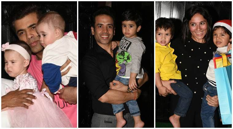 Karan Johar and his twins attend Tusshar Kapoor's pre-Christmas bash