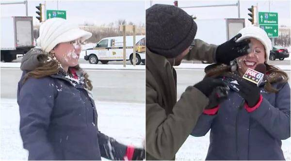 snowball fight, funny video, live tv blooper, funny live tv blunder, snowball fight news reporter, us news anchor on tv snow ball fight, viral news, indian express