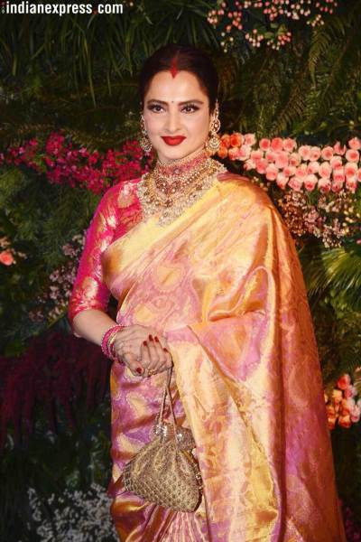 rekha at virat anushka wedding reception