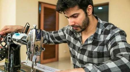 Varun Dhawan tries to master the art of Sui Dhaaga. See photos