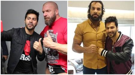 Varun Dhawan meets Triple H, Jinder Mahal at the WWE India event; see photos, videos