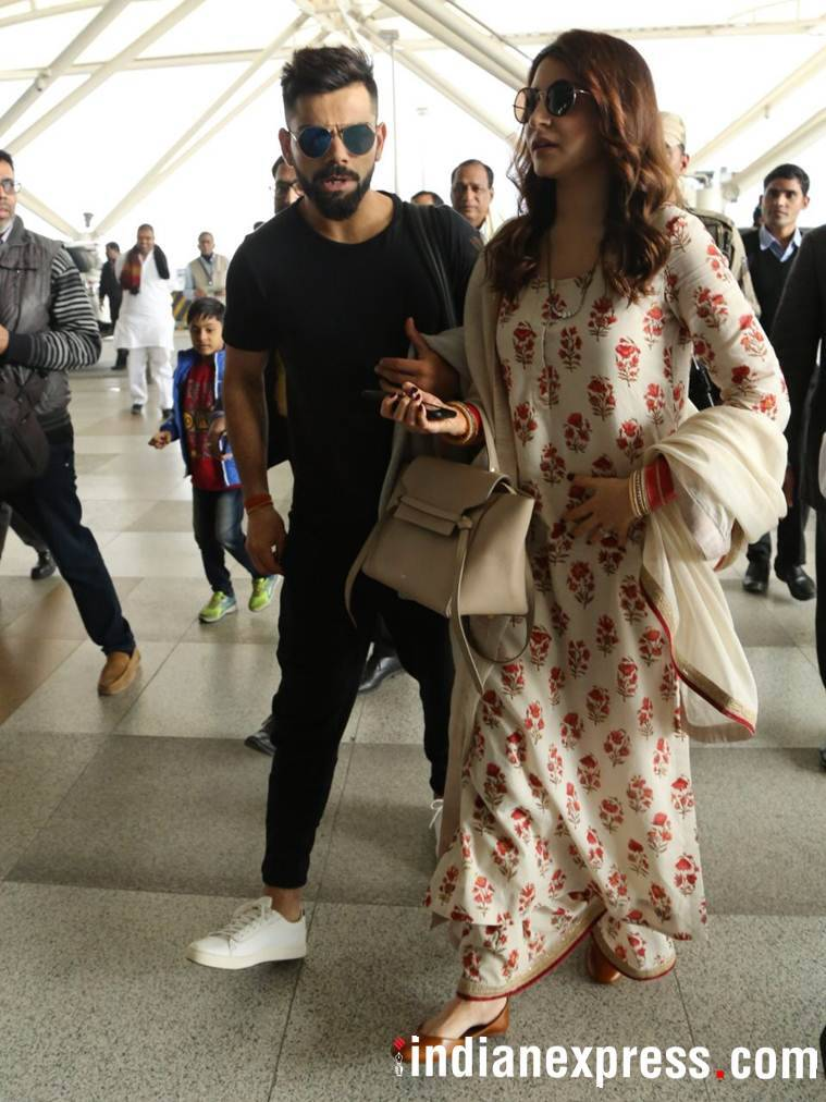 virat kohli and anushka sharma at delhi airport