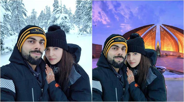 Anushka Sharma, Virat Kohli, virat anushka honeymoon photo, anushka honeymoon pic, virat anushka in pakistan, virat anushka honeymoon in pakistan, virat anuhka pakistan photoshop photos, virunshka wedding, virat anushka photos, virat anushka memes, indian express, viral news, odd news