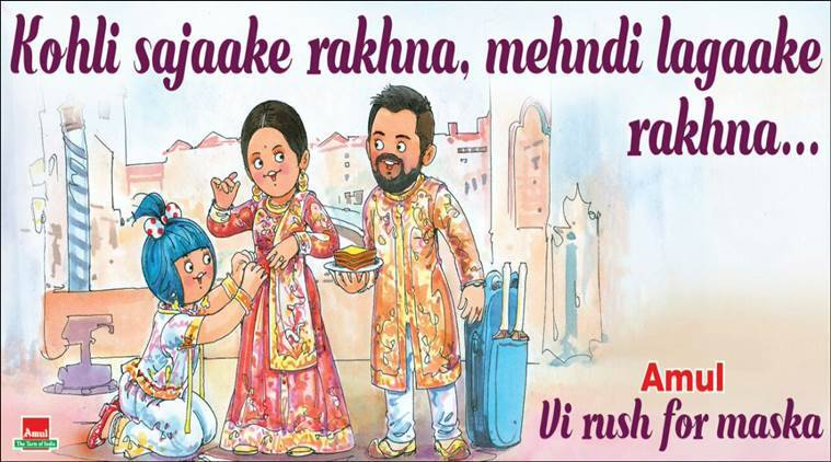 virat kohli, anushka sharma, virat kohli anushka sharma wedding, amul virat kohli anushka sharma,virat kohli anushka sharma wedding picture, viat anushka wedding jokes, indian express, indian express news