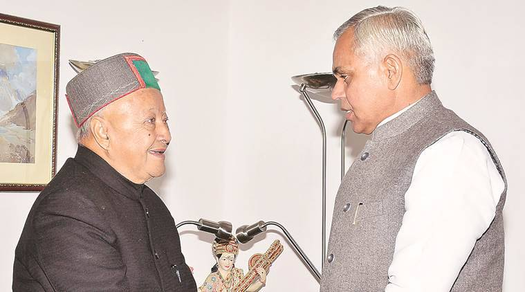 Virbhadra Singh with Governor Acharya Devvrat