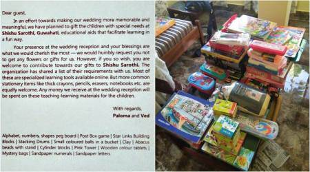 Instead of gifts, this couple asked guests to make donations to an NGO at their wedding