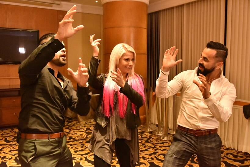 Jinder Mahal, Sasha Banks and Alexa Bliss ahead of WWE Live India 2017