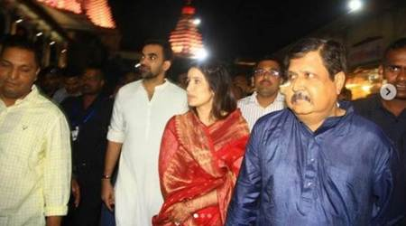 Zaheer Khan and Sagarika Ghatge seek blessings at Mahalaxmi Temple in Kolhapur