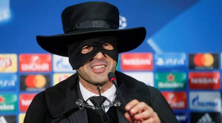 Shakhtar Donetsk's coach Paulo Fonseca, dressed as Zorro