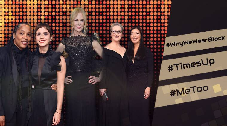 golden globes, golden globes 2018, celebrities on golden globe red carpet, hashtags used in golden globes, #metoo, #whywewearblack, celebrities wearing black at golden globe, social media on golden globe 2018, indian express, indian express news