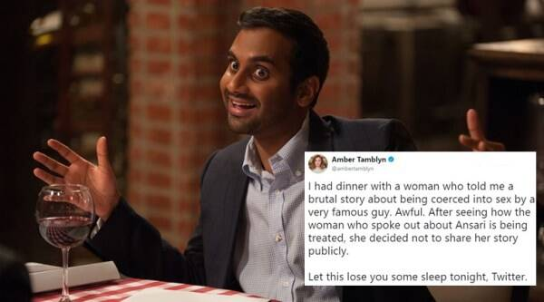 Aziz Ansari, Aziz Ansari sexual harassment, Aziz Ansari MeToo debate, Aziz Ansari MeToo debates on Twitter, Amber Tamblyn on MeToo, Amber Tamblyn MeToo Aziz Ansari, Amber Tamblyn tweets on MeToo viral, Indian Express, Indian Express news