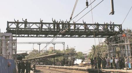 Army constructing foot over bridge at Ambivali railway station