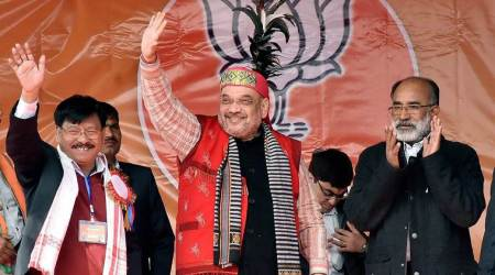Amit Shah starts campaigning in Meghalaya, asks people to overthrow corrupt Sangma govt