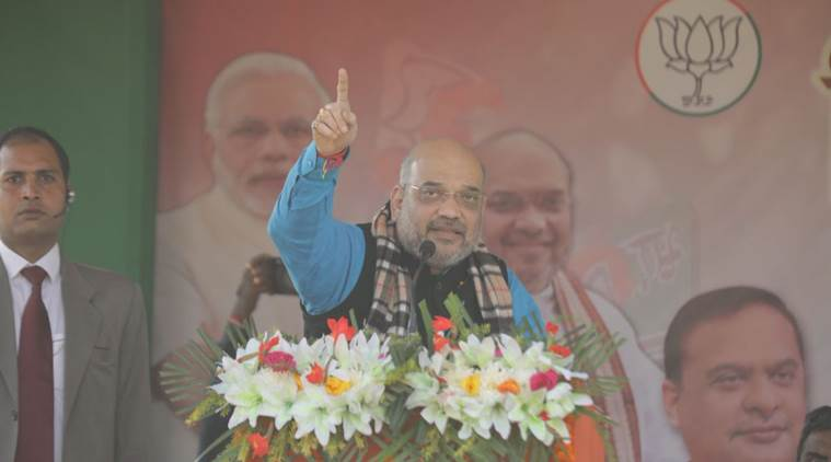 Amit Shah, Amit Shah in tripura, BJP rally, BJP Tripura rally, CPM, Manik Sarkar, Tripura assembly elections 2018, Tripura polls, indian express