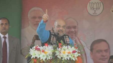 Amit Shah, Amit Shah in tripura, BJP rally, BJP Tripura rally, CPM, Manik Sarkar, Tripura assembly elections 2018, Tripura polls, indian express