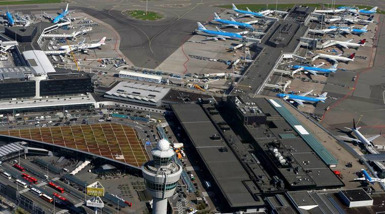 Amsterdam airport, amsterdam airport closed, Northern Europe storm, Europe storm, world news, indian express news