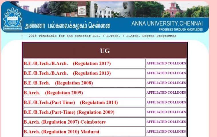 Anna University semester-Prüfungen 2018: Zeitplan veröffentlicht ...