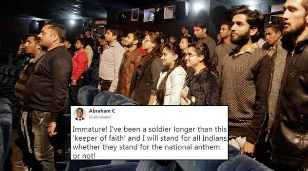 national anthem controversy, national anthem cinemas, supreme court national anthem, army man supreme court national anthem, army officer national anthem, army man's tweet on national anthem, twitter reactions, indian express, indian express news