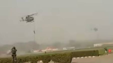 VIDEO: 3 Army personnel fall from chopper during security drill