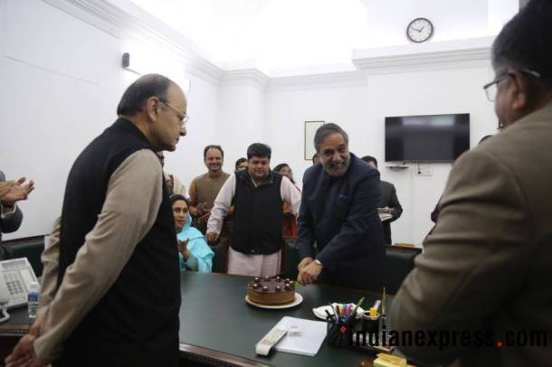 Arun jaitley, Anand Sharma, Anand Sharma birthday, winter session, parliement, Congress leader birthday celebration, Arun jaitley photos, anand sharma birthday pictures, MPs, arun jaitley hosted lunch, india news, Indian express news