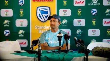 Sanjay Bangar at a press conference in South Africa