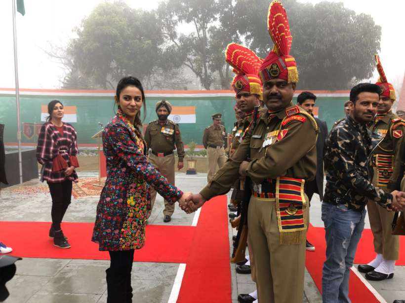 rakul preet singh at wagha border amritsar for republic day
