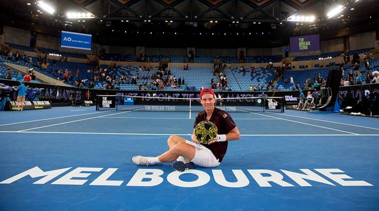 Tomas Berdych poses with the trophy after winning Tie Break Tens in Melbourne