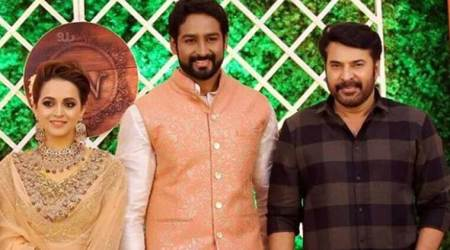 Mammootty and Prithviraj attend Bhavana and Naveen's wedding reception. See photos