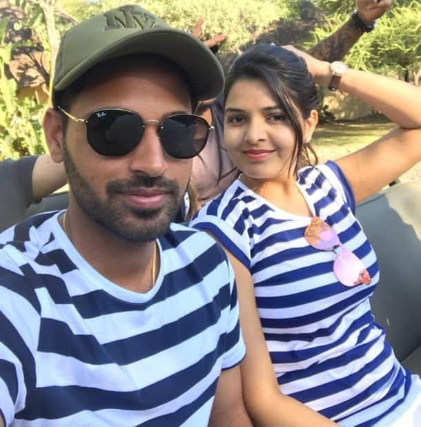Bhuvneshwar Kumar with wife Nupur Nagar