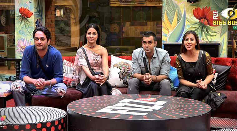 Luv Tyagi Vikas Gupta Hina Khan and Shilpa Shinde in Bigg Boss 11