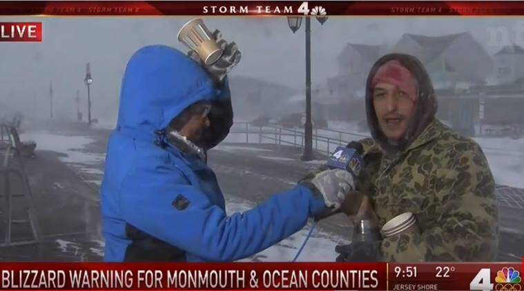 bomb cyclone, us bomb cyclone, news anchor coffee, Tracie Strahan, Tracie Strahan coffee, viral video, indian express