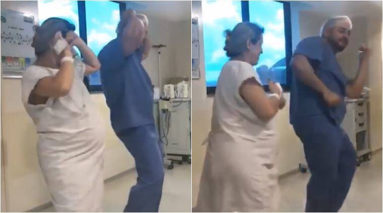 pregnancy, pregnancy labour pain, dancing doctor, pregnant woman dancing in labour, dancing in labour pain videos, medical videos, indian express, viral videos, odd videos