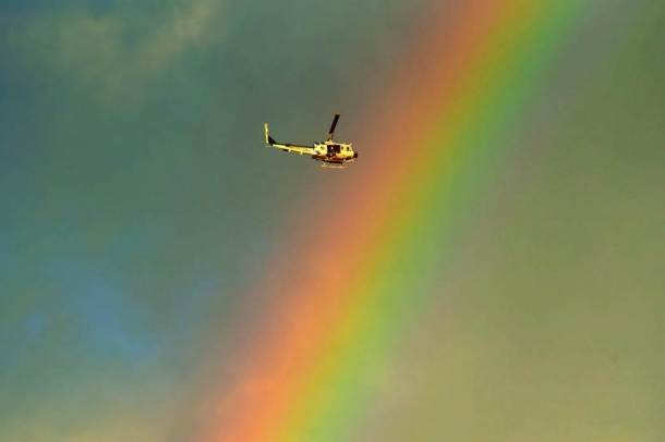 rainbow, helicopter, california mudslide, california rains, california photos, mudslide images, Montecito pics, santa barbara county images, us mudslide disaster, united states, climate change, america natural disaster pictures, indian express