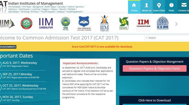 CAT 2017 results declared, 20 candidates secure 100 percentile