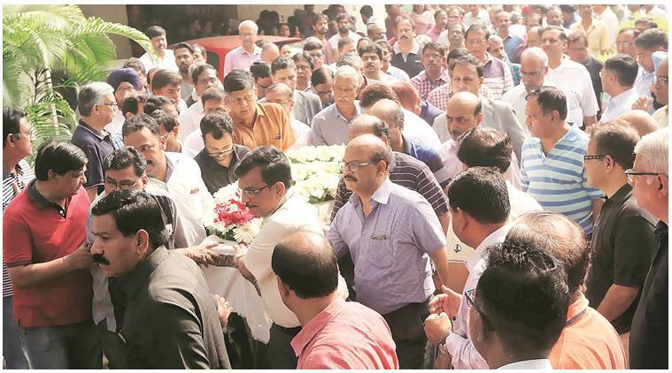 Family and friends at the funeral of ONGC deputy general manager P N Sreenivasan in Mumbai Sunday