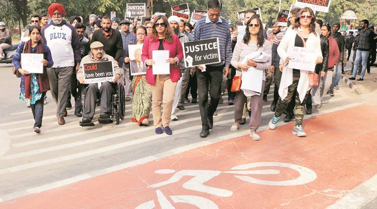 Chandigarh Road accident, Hit and run case, Chandigarh protest, Chandigarh accidents, Road accidents, Indian Express, Chandigarh News
